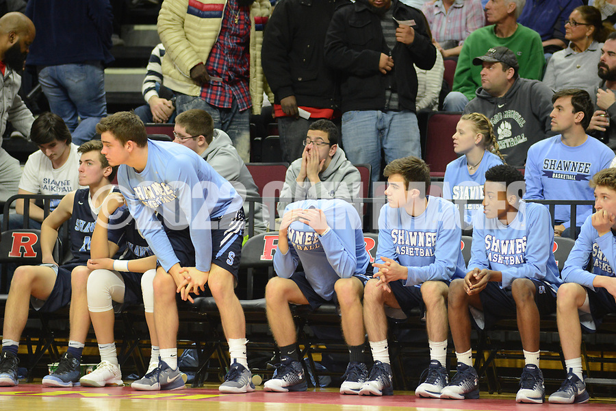 Shawnee players sit on the bench towards the end of the fourth quarter against Linden in the New Jersey Group 4 State Championship game Sunday March 12, 2017 at Rutgers University in Piscataway, New Jersey. (Photo by William Thomas Cain)