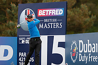 Haydn Porteous watches his drive at the 15th during the first day at the Betfred British Masters, Hillside Golf Club, Lancashire, England. 09/05/2019.<br /> Picture David Kissman / Golffile.ie<br /> <br /> All photo usage must carry mandatory copyright credit (© Golffile | David Kissman)