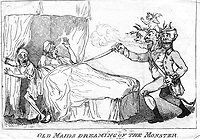 BNPS.co.uk (01202 558833)<br /> Pic: JanBondeson/BNPS<br /> <br /> Two old maids are dreaming that the Monster will show them attention to prove that they are still attractive, when the fiend suddenly appears.<br /> <br /> A historian has shed new light on a little-known predator who terrorised London's streets a century before Jack the Ripper.<br /> <br /> The despicable culprit - dubbed The Monster - targeted well dressed young women by stabbing them in the thigh or buttocks.<br /> <br /> His reign of terror lasted for the first half of 1790, with him clocking up six victims on a single day. Other women were kicked from behind with spikes fastened to his knees, while some were stabbed in the nose by a spike hidden in a bouquet they were invited to smell.<br /> <br /> By the time The Monster was finally apprehended, his tally of traumatised victims was over 50. He was unmasked as disgraced Welsh ballet dancer Rhynwick Williams, who was kicked out of the theatre after committing theft and descended into the capital's seedy underworld.<br /> <br /> Historian Dr Jan Bondeson has written about him in his book 'The London Monster: Terror on the Streets', and also contributed to an upcoming film on the sinister episode.
