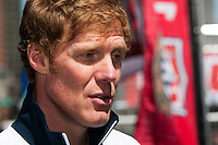 ESPN analyst and former men's national team defender Alexi Lalas is interviewed during the centennial celebration of U. S. Soccer at Times Square in New York, NY, on April 04, 2013.