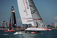 Groupama Team France, JULY 23, 2016 - Sailing: Groupama Team France heels in light winds during day one of the Louis Vuitton America's Cup World Series racing, Portsmouth, United Kingdom. (Photo by Rob Munro/AFLO)