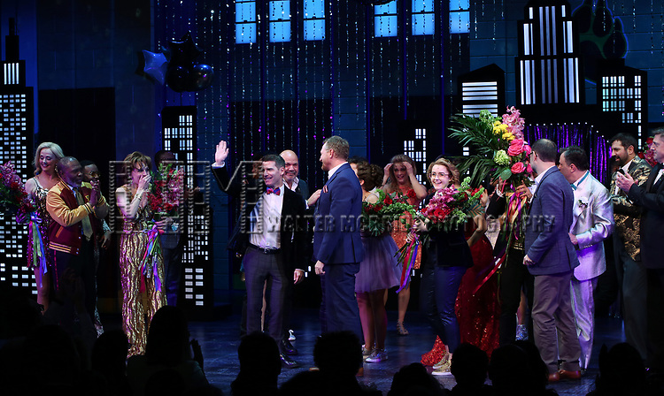 """Angie Schworer, Michael Potts, Beth Leavel, Chad Beguelin, Casey Nicholaw, Rob Martin, Caitlin Kinnunen, Brooks Ashmanskas, Christopher Sieber  during the Broadway Opening Night Curtain Call of """"The Prom"""" at The Longacre Theatre on November 15, 2018 in New York City."""