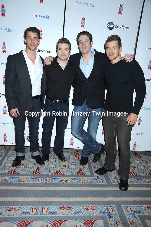 "One Life to Live group shot, David Gregory, Mark Lawson, Tom Degnan and Josh Kelly posing for photographers at The ABC Daytime Salutes Broadway Cares/ Equity Fights Aids "" An Evening of Musical Entertainment and Comedy""  Benefit after party  on March 13, 2011 at the Marriott Marquis Hotel in New York City."