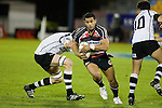 Lelia Masaga takes the gap between Will Crutchley & Matt Berquist. Air New Zealand Cup rugby game between Counties Manukau Steelers & Hawkes Bay, played at Mt Smart Stadium on the 23rd of August 2007. Hawkes Bay won 38 - 14.