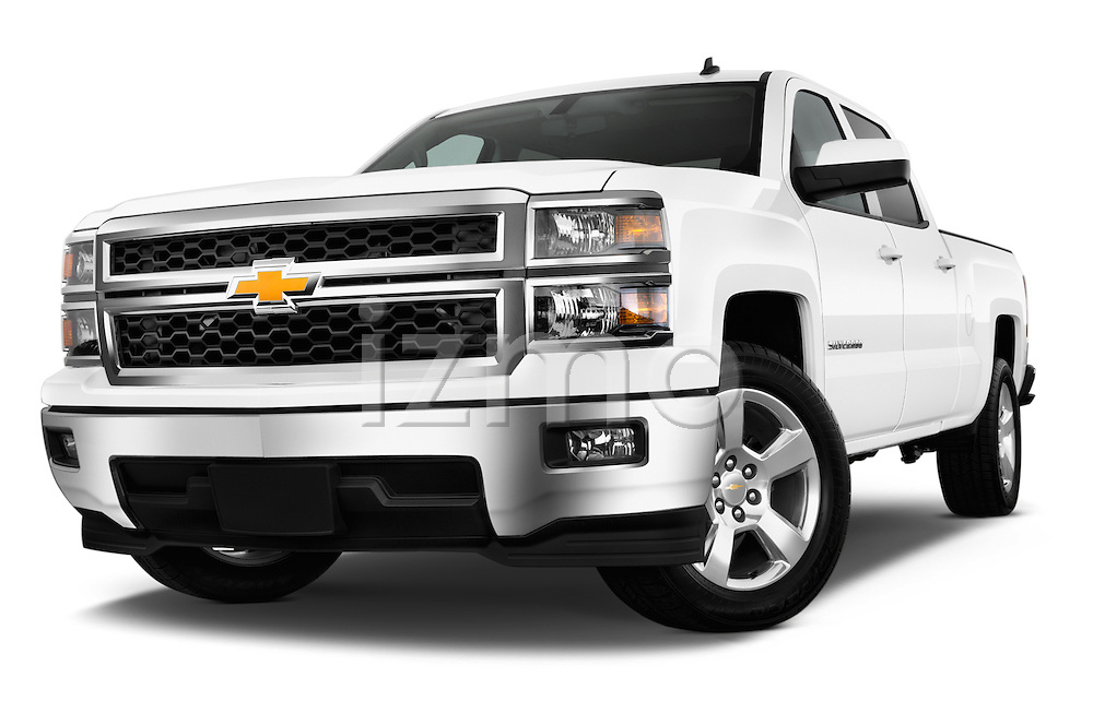 Low aggressive front three quarter view of a 2014 Chevrolet Silverado 1500 LT 2WD Crew Cab