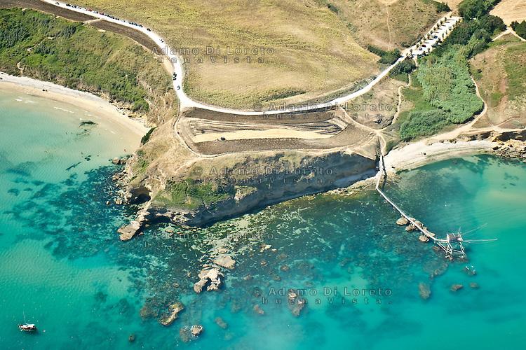 PESCARA 19/07/2012:Foto aere della costa abruzzese. Nella foto la veduta della costa dei Trabocchi tra Vasto e Fossacesia - Chieti -  Foto Adamo Di Loreto/BuenaVista*photo