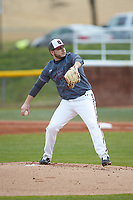 Concord Mountain Lions starting pitcher Trent Abernathy (27) in action against the Wingate Bulldogs at Ron Christopher Stadium on February 1, 2020 in Wingate, North Carolina. The Bulldogs defeated the Mountain Lions 8-0 in game one of a doubleheader. (Brian Westerholt/Four Seam Images)