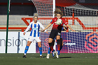 Charlie Devlin of Manchester United Women and Kirsty Barton of Brighton & Hove Albion Women during Brighton & Hove Albion Women vs Manchester United Women, SSE Women's FA Cup Football at Broadfield Stadium on 3rd February 2019