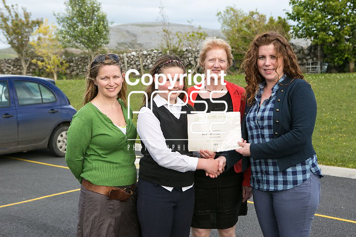 Pictured at the presentation of certificated by EcoEco Beo to students from New Quay National school were: Bridget Barry,Burren Beo Trust, Student Megan O'Halloran,Carmel Thynne, Principal New Quay NS, Aine Bird, Eco Beo Co ordinator . Pictured Credit Brian Gavin Press 22