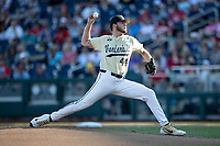 Vanderbilt Commodores pitcher Mason Hickman (44) delivers a pitch to the plate during Game 12 of the NCAA College World Series against the Louisville Cardinals on June 21, 2019 at TD Ameritrade Park in Omaha, Nebraska. Vanderbilt defeated Louisville 3-2. (Andrew Woolley/Four Seam Images)
