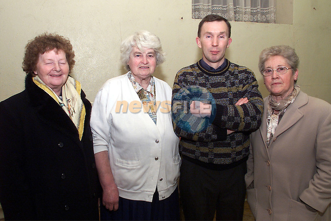 Marie Richardson, Evelyn Loughran, Tony Gogan and Mary Connenn, Duleek, pictured at the senior citizens party at the Duleek Parish Centre..pic:Arthur Carron/ Newsfile