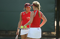 STANFORD, CA - FEBRUARY 19:  Jennifer Yen and Logan Hansen of the Stanford Cardinal during Stanford's 8-5 win over the St. Mary's Gaels on February 19, 2009 at the Taube Family Tennis Stadium in Stanford, California.