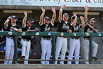 28 May 2016: Players on the Nova Southeastern bench waive to a teammate that had just gotten a hit. The Nova Southeastern University Sharks played the Franklin Pierce University Ravens in Game 3 of the 2016 NCAA Division II College World Series  at Coleman Field at the USA Baseball National Training Complex in Cary, North Carolina. Nova Southeastern won the game 4-3 in twelve innings.