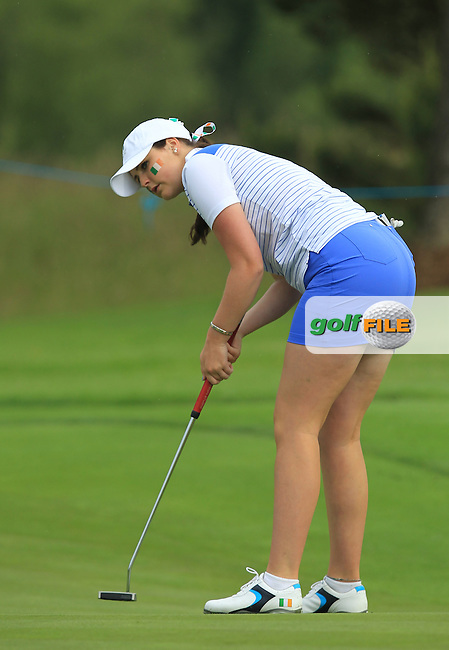Olivia Mehaffey on the 1st green during the Friday morning Foursomes of the 2016 Curtis Cup at Dun Laoghaire Golf Club on Friday 10th June 2016.<br /> Picture:  Golffile | Thos Caffrey