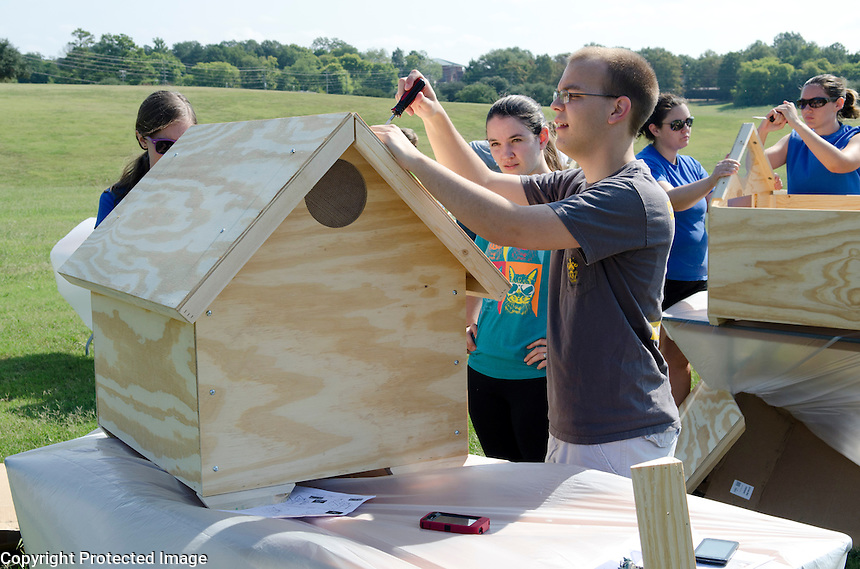 Mississippi State College of Veterinary Medicine students enjoy friendly competition while assembling and painting dog houses donated by Purina.  Some of the finished houses were sold and proceeds donated to local shelters, houses that weren't sold were also donated to local animal shelters.