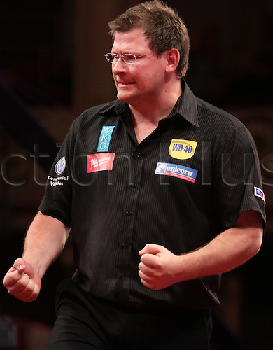 23.07.2011 World Match Play Darts from the Winter Gardens in Blackpool. James Wade celebrates winning a crucial leg against Adrian Lewis