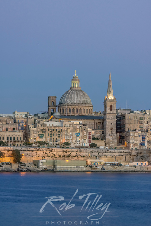 Europe, Malta, Valletta,  Historic Skyline at Dusk