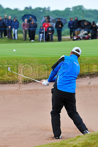 05.06.2011 Day four of the SAAB Wales Open Golf from Celtic Manor. Peter HANSON (SWE) plays from a bunker on the 1st during the fourth and final round on the Twenty Ten course.