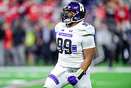 Indianapolis, IN - DEC 1, 2018: Northwestern Wildcats defensive lineman Jordan Thompson (99) celebrates a sack during second half action of the Big Ten Championship game between Northwestern and Ohio State at Lucas Oil Stadium in Indianapolis, IN. Ohio State defeated Northwestern 45-24. (Photo by Phillip Peters/Media Images International)