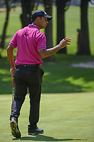 Shubhankar Sharma (IND) acknowledges the cheers after sinking his birdie putt on 1 during round 3 of the World Golf Championships, Mexico, Club De Golf Chapultepec, Mexico City, Mexico. 3/3/2018.<br /> Picture: Golffile | Ken Murray<br /> <br /> <br /> All photo usage must carry mandatory copyright credit (&copy; Golffile | Ken Murray)