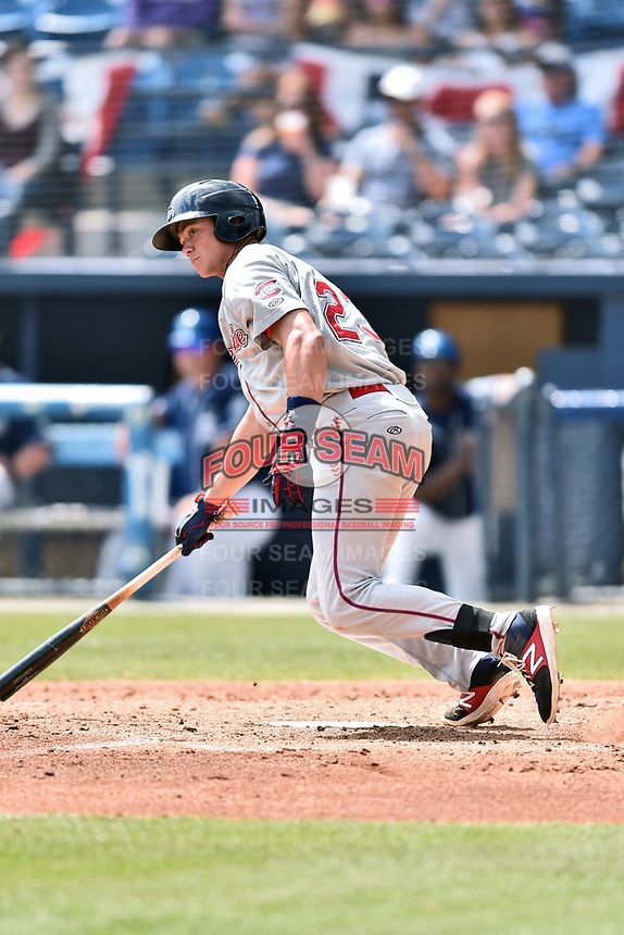 Greenville Drive third baseman Bobby Dalbec (23) swings at a pitch during a game against the Asheville Tourists at McCormick Field on April 16, 2017 in Asheville, North Carolina. The Drive defeated the Tourists 4-2. (Tony Farlow/Four Seam Images)