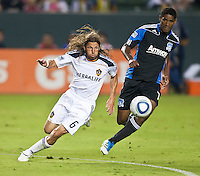 CARSON, CA – August 20, 2011: LA Galaxy defender Frankie Hejduk (6) and San Jose Earthquake midfielder Khari Stephenson (7) during the match between LA Galaxy and San Jose Earthquakes at the Home Depot Center in Carson, California. Final score LA Galaxy 2, San Jose Earthquakes 0.