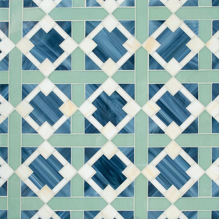 Kubuni, a jewel glass mosaic, shown in Marcasite, Serpentine, and Quartz. Designed by Joni Vanderslice as part of the J. Banks  Collection for New Ravenna.
