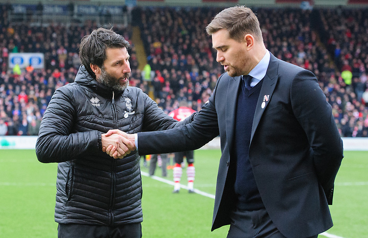 Lincoln City manager Danny Cowley, left, shakes hands with `Grimsby Town manager Michael Jolley<br /> <br /> Photographer Chris Vaughan/CameraSport<br /> <br /> The EFL Sky Bet League Two - Lincoln City v Grimsby Town - Saturday 19 January 2019 - Sincil Bank - Lincoln<br /> <br /> World Copyright © 2019 CameraSport. All rights reserved. 43 Linden Ave. Countesthorpe. Leicester. England. LE8 5PG - Tel: +44 (0) 116 277 4147 - admin@camerasport.com - www.camerasport.com