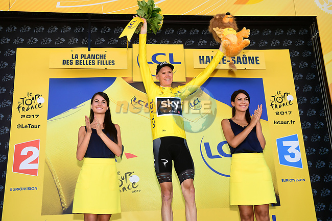 Christopher Froome (GBR) Team Sky is the new race leader at the end of Stage 5 of the 104th edition of the Tour de France 2017, running 160.5km from Vittel to La Planche des Belles Filles, France. 5th July 2017.<br /> Picture: ASO/Alex Broadway | Cyclefile<br /> <br /> <br /> All photos usage must carry mandatory copyright credit (&copy; Cyclefile | ASO/Alex Broadway)