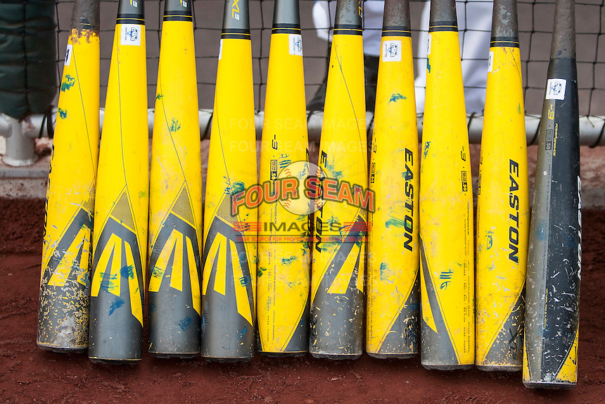 Florida Gators bats before Game 13 of the NCAA College World Series on June 20, 2015 at TD Ameritrade Park in Omaha, Nebraska. (Andrew Woolley/Four Seam Images)
