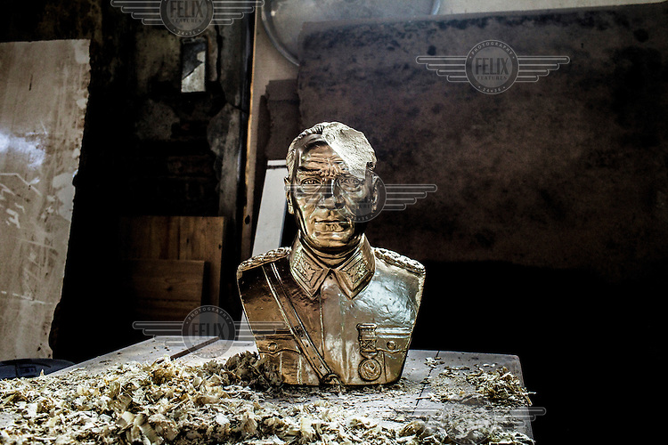 A damaged bust of Kamal Attaturk in the workshop at the Beykoz film studios during filming during filming of 'Oyle Bir Gecer Zaman Ki' (As Time Goes By), one of the most loved and most watched Turkish Soap Operas in the Middle East and North Africa.