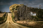 Country landscape scene with rustic track and woodland