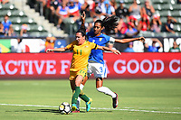 Carson, CA - Thursday August 03, 2017: Lisa De Vanna, Bruna Benites during a 2017 Tournament of Nations match between the women's national teams of Australia (AUS) and Brazil (BRA) at the StubHub Center.