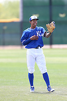 Raul Mondesi Jr.#22 of the Kansas City Royals during a Minor League Spring Training Game against the San Diego Padres at the Kansas City Royals Spring Training Complex on March 26, 2014 in Surprise, Arizona. (Larry Goren/Four Seam Images)