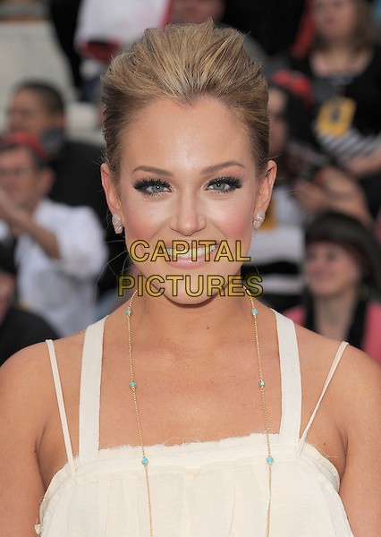 """LACEY SCHWIMMER .Premiere of """"Pirates of the Caribbean : On Stranger Tides"""" held at Disneyland in Anaheim, California, USA..May 7th 2011.4 four headshot portrait white.CAP/RKE/DVS.©DVS/RockinExposures/Capital Pictures."""
