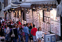 Artist's Lane in the Old walled City of Quebec where tourists by art. Artists & tourists. Old Quebec City Province of Quebec Canada French Canada.