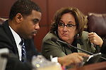 Nevada Sen. Steven Horsford, D-North Las Vegas, and Assemblywoman Debbie Smith, D-Sparks, talk in committee at the Legislature, in Carson City, Nev., on Monday, March 28, 2011.  .Photo by Cathleen Allison