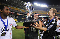 DC United midfielder Fred (7) lifts the Lamar Hunt US. Open Cup after the win, DC United defeated The Charleston Battery 2-1, to win the  Lamar Hunt U.S. Open Cup at RFK Stadium in Washington DC, Saturday September 3, 2008.