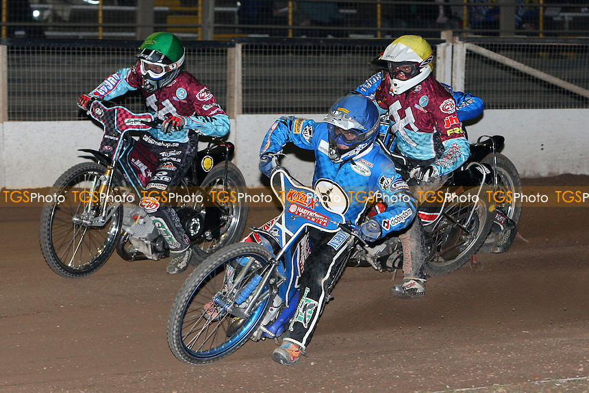 Heat 8: Dawid Stachyra (blue) ahead of Lakeside pair Joonas Kylmakorpi (green) and Stuart Robson (yellow), Leigh Lanham trails - Ipswich Witches vs Lakeside Hammers - Speedway Challenge Match First Leg at Foxhall Stadium, Ipswich, Suffolk - 19/03/09 - MANDATORY CREDIT: Gavin Ellis/TGSPHOTO - Self billing applies where appropriate - 0845 094 6026 - contact@tgsphoto.co.uk - NO UNPAID USE.