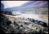 #493 K-37,  #494 K-37 double heading - hauling freight along Animas River?<br /> D&amp;RGW  Durango/Farmington area,
