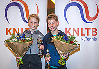 Wateringen, The Netherlands, December 15,  2019, De Rhijenhof , NOJK juniors doubles , Final boys 12 years, runners up  Thijs Boogaard (NED) and Sander Paradis (NED) (L) with the trophy<br /> Photo: www.tennisimages.com/Henk Koster