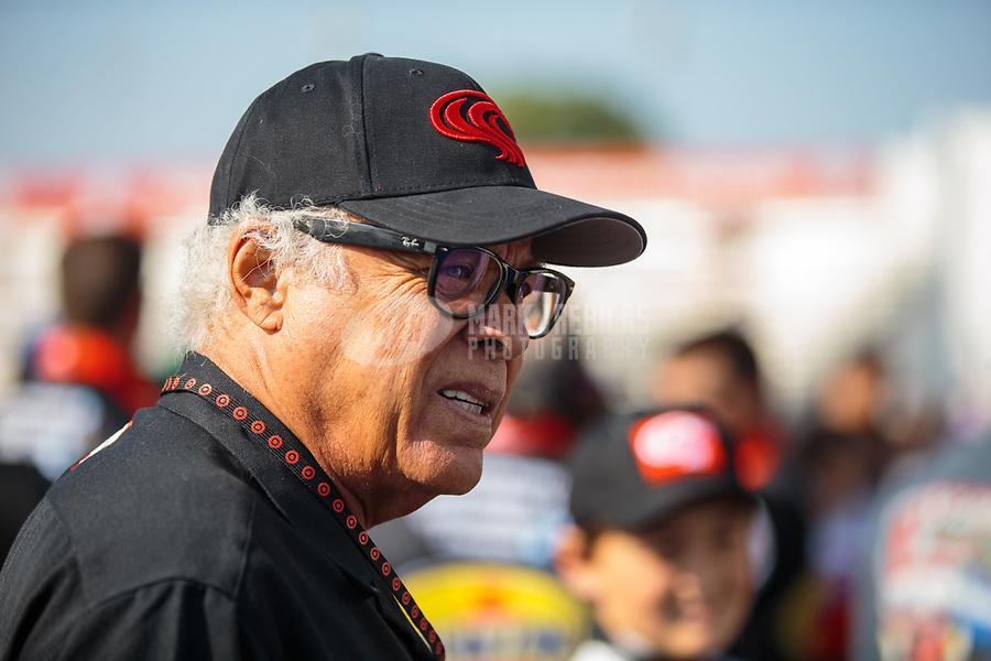 Nov 11, 2018; Pomona, CA, USA; NHRA former driver Don Prudhomme during the Auto Club Finals at Auto Club Raceway. Mandatory Credit: Mark J. Rebilas-USA TODAY Sports
