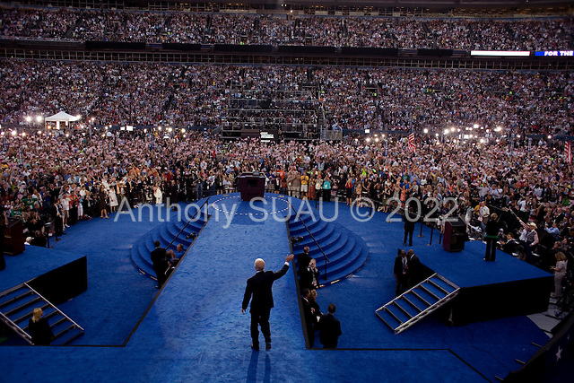 Denver, Colorado<br /> August 28, 2008<br /> <br /> Senator Joe Biden in front of 75,000 people at the Democratic National Convention during the closing night in Denver's Mile High Stadium.