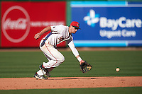 Ball State Cardinals shortstop Alex Maloney (6) makes a play on a ground ball during a game against the Louisville Cardinals on February 19, 2017 at Spectrum Field in Clearwater, Florida.  Louisville defeated Ball State 10-4.  (Mike Janes/Four Seam Images)
