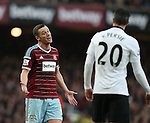 West Ham's Kevin Nolan accuses Manchester United's Robin Van Persie of an elbow<br /> <br /> Barclays Premier League- West Ham United vs Manchester United  - Upton Park - England - 8th February 2015 - Picture David Klein/Sportimage