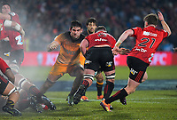 Pablo Matera tackles Kieran Read during the 2019 Super Rugby final between the Crusaders and Jaguares at Orangetheory Stadium in Christchurch, New Zealand on Saturday, 6 July 2019. Photo: Dave Lintott / lintottphoto.co.nz
