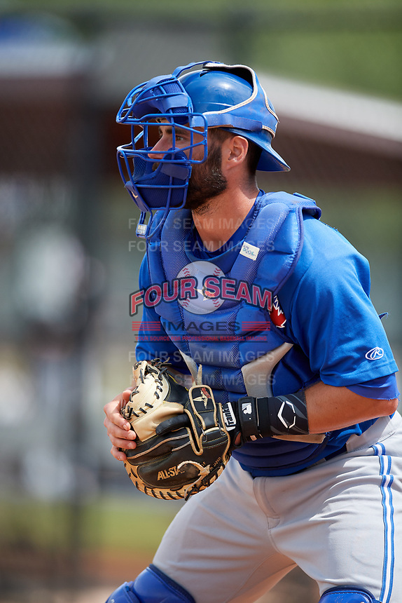 Toronto Blue Jays catcher Ridge Smith during warmups before a Minor League Spring Training game against the Philadelphia Phillies on March 30, 2018 at Carpenter Complex in Clearwater, Florida.  (Mike Janes/Four Seam Images)