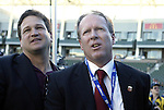 14 November 2004: DC's General Manager Stephen Zack (left) and President Kevin Payne (right) celebrate with the fans after the game. DC United defeated the Kansas City Wizards 3-2 to win MLS Cup 2004, Major League Soccer's championship game at the Home Depot Center in Carson, CA..