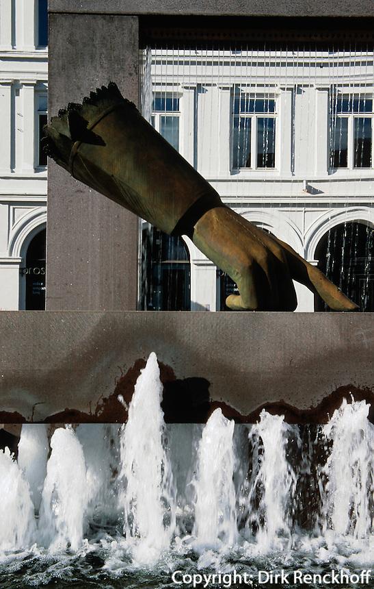 Norwegen, Oslo, Brunnen Christian IVs Hanske auf Christiana  Torv