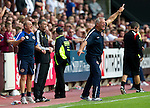 Hearts v St Johnstone...14.08.10  .Jim Jefferies goes nuts at his players.Picture by Graeme Hart..Copyright Perthshire Picture Agency.Tel: 01738 623350  Mobile: 07990 594431